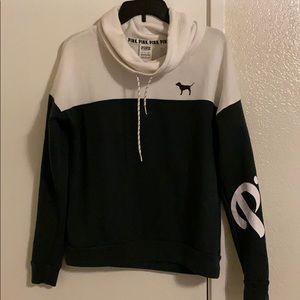 PINK White & dark green hoodie